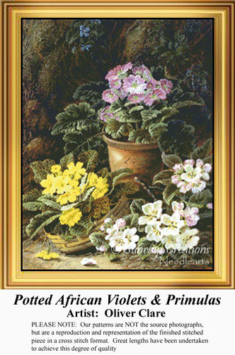 Potted African Violets and Primulas, Flowers Counted Cross Stitch Pattern