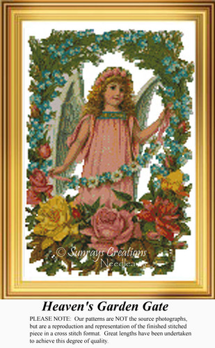 Heaven's Garden Gate, Angel Counted Cross Stitch Pattern