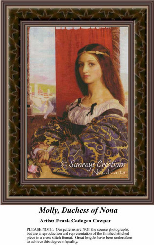 Molly, Duchess of Nona, Nobility Counted Cross Stitch Pattern, Fine Art Counted Cross Stitch Pattern