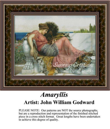 Amaryllis, Fine Art Counted Cross Stitch Pattern, Women Counted Cross Stitch Pattern