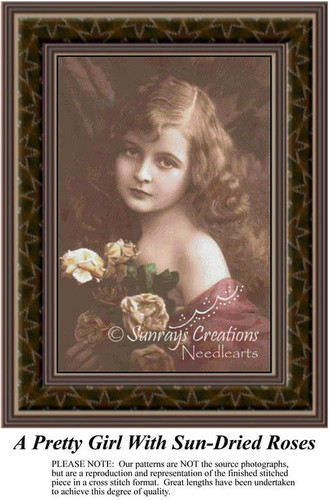A Pretty Girl with Sun-Dried Roses, Sepia Counted Cross Stitch Pattern
