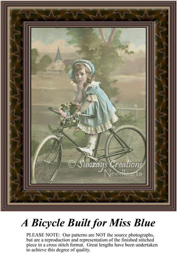 A Bicycle Built for Miss Blue, Sepia Counted Cross Stitch Pattern