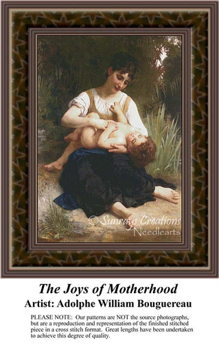 The Joys of Motherhood, Fine Art Counted Cross Stitch Pattern, Family Counted Cross Stitch Pattern