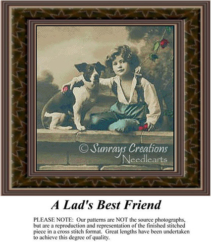 A Lad's Best Friend, Sepia Counted Cross Stitch Pattern