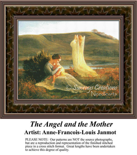 The Angel and the Mother, Fine Art Counted Cross Stitch Pattern