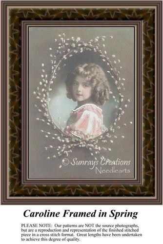 Caroline Framed in Spring, Sepia Counted Cross Stitch Pattern, Spring Counted Cross Stitch Pattern