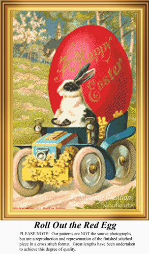 Roll Out the Red Egg, Vintage Counted Cross Stitch Pattern