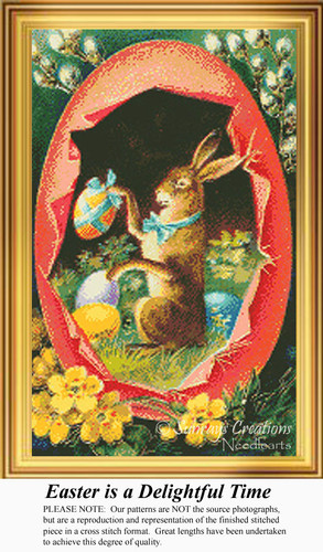 Easter is a Delightful Time, Vintage Counted Cross Stitch Pattern