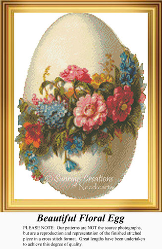Beautiful Floral Egg, Vintage Counted Cross Stitch Pattern