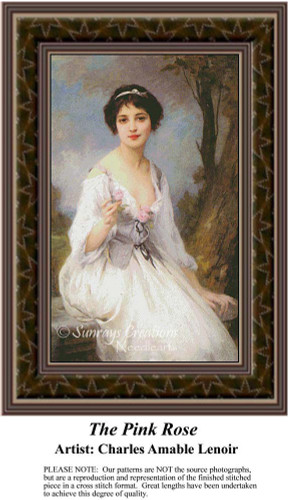 The Pink Rose, Fine Art Counted Cross Stitch Pattern