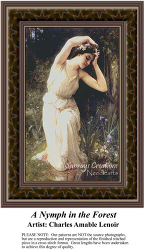A Nymph in the Forest, Fine Art Counted Cross Stitch Pattern, Fantasy Counted Cross Stitch Pattern