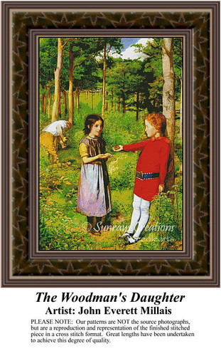 The Woodman's Daughter, Fine Art Counted Cross Stitch Pattern, Social Counted Cross Stitch Pattern