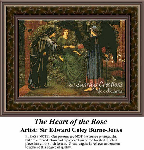 The Heart of the Rose, Social Counted Cross Stitch Pattern, Fine Art Counted Cross Stitch Pattern