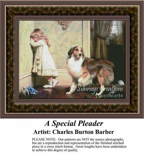 A Special Pleader, Fine Art Counted Cross Stitch Pattern, Children Counted Cross Stitch Pattern