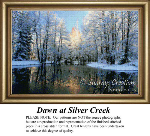 Dawn at Silver Creek, Landscape Counted Cross Stitch Pattern, Waterscapes Counted Cross Stitch Patterns, Winter Counted Cross Stitch Patterns