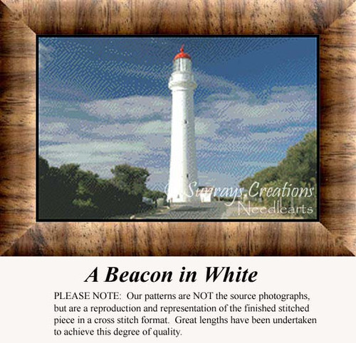 A Beacon in White, Lighthouse Counted Cross Stitch Pattern