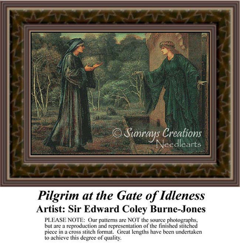Pilgrim at the Gate of Idleness, Fine Art Counted Cross Stitch Pattern, Social Counted Cross Stitch Pattern