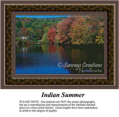 Indian Summer, Landscapes Counted Cross Stitch Pattern, Summer Counted Cross Stitch Patterns, Waterscapes Counted Cross Stitch Patterns