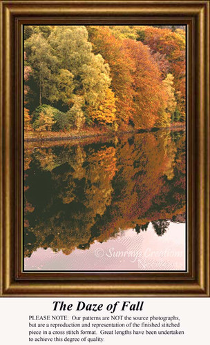 The Daze of Fall, Fall Counted Cross Stitch Patterns, Trees Counted Cross Stitch Pattern