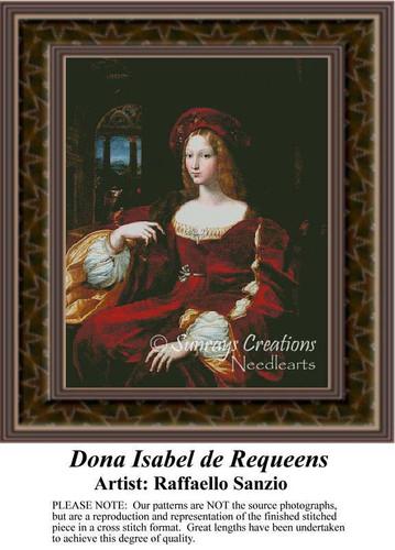 Dona Isabel de Requeens, Fine Art Counted Cross Stitch Pattern, Women Counted Cross Stitch Pattern