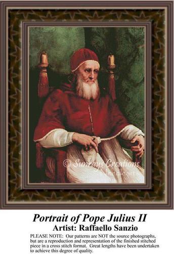Portrait of Pope Julius II, Fine Art Counted Cross Stitch Pattern