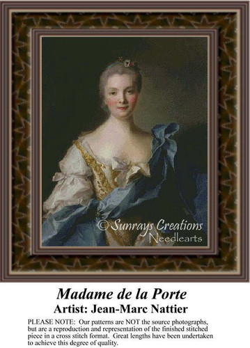 Madame de La Porte, Fine Art Counted Cross Stitch Pattern, Women Counted Cross Stitch Pattern
