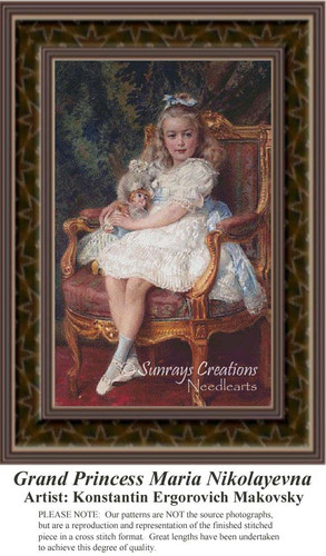Grand Princess Maria Nikolayevna, Fine Art Counted Cross Stitch Pattern, Nobility Counted Cross Stitch Pattern, Children Counted Cross Stitch Pattern