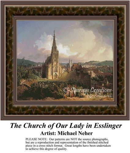 The Church of Our Lady In Esslinger, Architecture Counted Cross Stitch Pattern, Fine Art Counted Cross Stitch Pattern