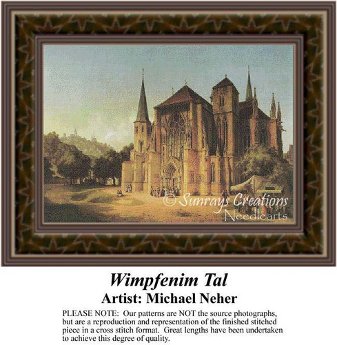 Wimpfenim Tal, Architecture Counted Cross Stitch Pattern, Fine Art Counted Cross Stitch Pattern