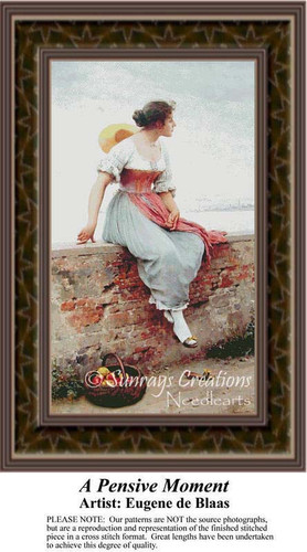 A Pensive Moment, Fine Art Counted Cross Stitch Pattern, Women Counted Cross Stitch Pattern