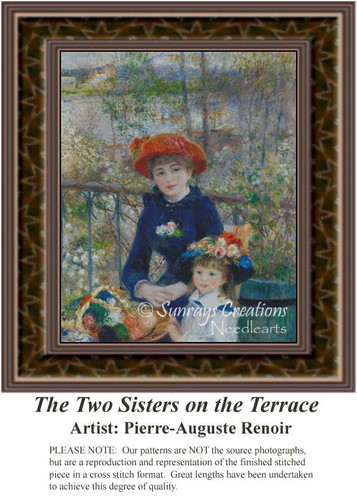 The Two Sisters on the Terrace, Fine Art Counted Cross Stitch Pattern, Family Counted Cross Stitch Pattern, Children Counted Cross Stitch Pattern