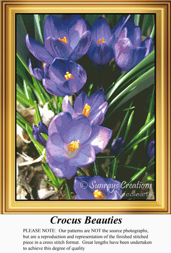 Crocus Beauties, Flowers Counted Cross Stitch Pattern