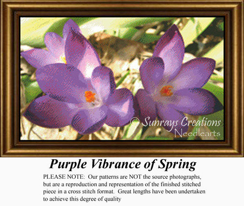 Purple Vibrance of Spring, Flowers Counted Cross Stitch Pattern,  Spring Counted Cross Stitch Pattern