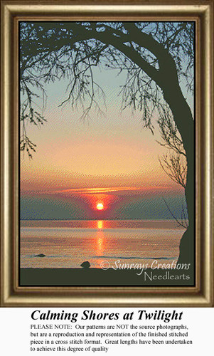 Calming Shores at Twilight, Skyscapes Counted Cross Stitch Pattern