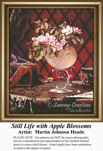Still Life with Apple Blossoms, Still Lifes Counted Cross Stitch Pattern, Fine Art Counted Cross Stitch Pattern