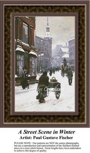A Street Scene in Winter, Fine Art Counted Cross Stitch Pattern