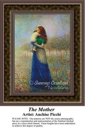 The Mother, Fine Art Counted Cross Stitch Pattern, Family Counted Cross Stitch Pattern