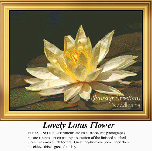 Lovely Lotus Flower, Flowers Counted Cross Stitch Pattern