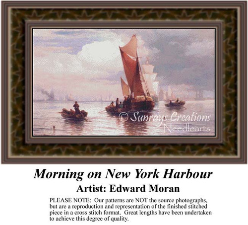 Morning on New York Harbour, Fine Art Counted Cross Stitch Pattern, Waterscapes Counted Cross Stitch Pattern