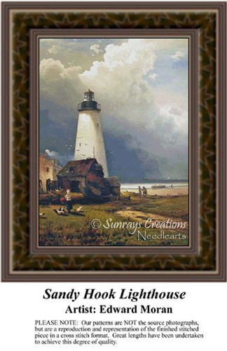 Sandy Hook Lighthouse, Lighthouse Counted Cross Stitch Pattern