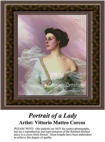 Portrait of a Lady, Fine Art Counted Cross Stitch Pattern, Women Counted Cross Stitch Pattern