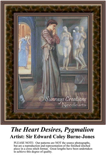 The Heart Desires, Pygmalion, Fine Art Counted Cross Stitch Pattern, Romance Counted Cross Stitch Pattern