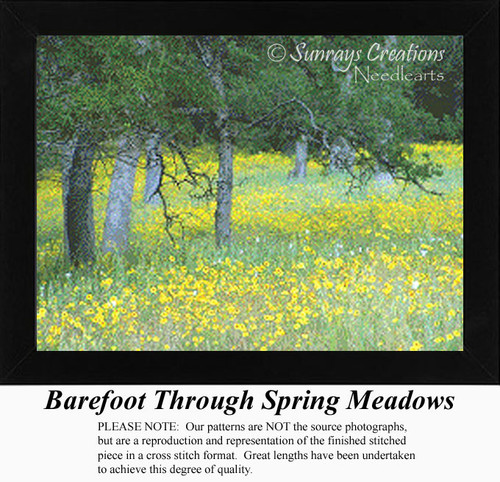 Barefoot Through Spring Meadows, Alluring Landscapes Counted Cross Stitch Pattern, Spring Counted Cross Stitch Pattern
