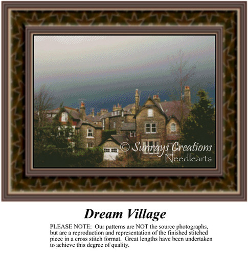 Dream Village, Landscape Counted Cross Stitch Pattern, Urban Counted Cross Stitch Patterns