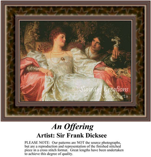 An Offering, Fine Art Counted Cross Stitch Pattern, Social Counted Cross Stitch Pattern, Romance Counted Cross Stitch Pattern
