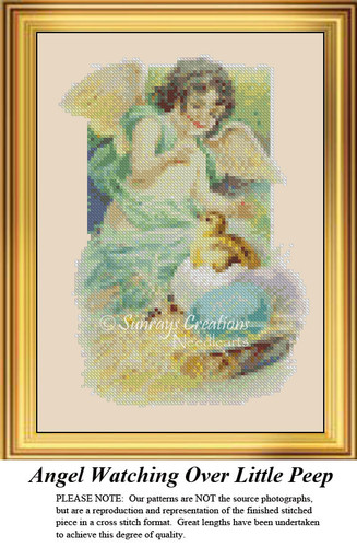 Angel Watching Over Little Peep, Angel Counted Cross Stitch Pattern