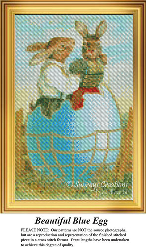 Beautiful Blue Egg, Easter Miniatures Counted Cross Stitch Pattern