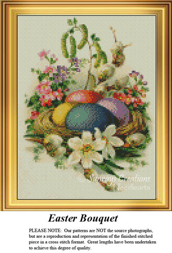 Easter Bouquet, Easter Miniatures Counted Cross Stitch Pattern