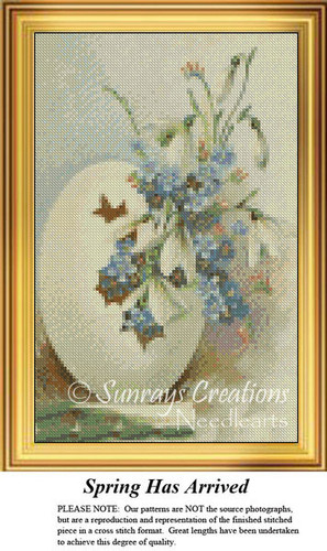 Spring Has Arrived, Easter Miniatures Counted Cross Stitch Pattern