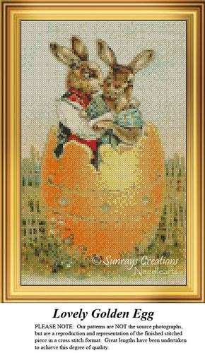 Lovely Golden Egg, Easter Miniatures Counted Cross Stitch Pattern